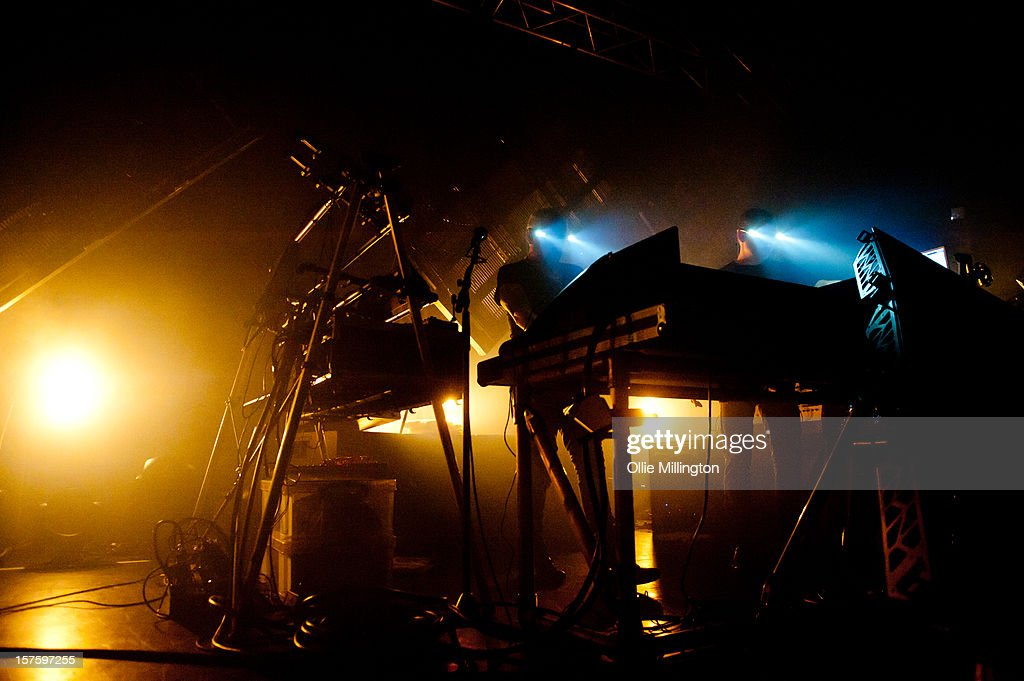 Phil Hartnoll and Paul Hartnoll of Orbital perform onstage during their December 2012 UK Tour at 02 Academy on December 4, 2012 in Leicester, England.