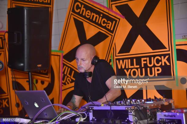 Phil Hartnoll attends a private view of artist Chemical X's new exhibition 'CX300' at The Vinyl Factory on September 28 2017 in London England