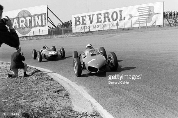 Phil Hill Jim Clark Ferrari 156 Sharknose LotusClimax 21 Grand Prix of the Netherlands Circuit Park Zandvoort 22 May 1961