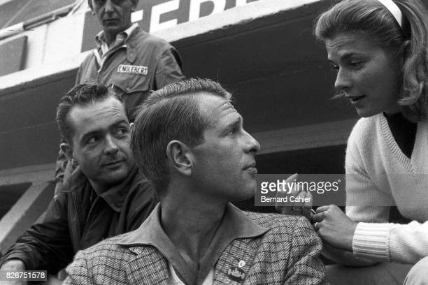 Phil Hill Peter Collins Louise Collins 24 Hours of Le Mans Le Mans 23 June 1957 Phil Hill watches Peter Collins and his wife actress Louise King