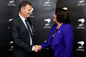 Phil Holden and Education Minister Hekia Parata shake hands after announcing a Government partnership with New Zealand Rugby League at Westpac...