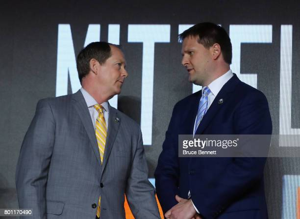 Phil Housley and Jason Botterill of the Buffalo Sabres attend the 2017 NHL Draft at the United Center on June 23 2017 in Chicago Illinois
