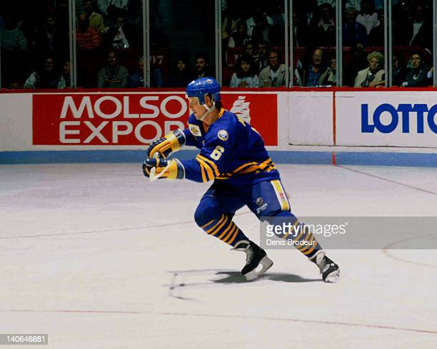 Phil Housley of the Buffalo Sabres skates during a game against the Montreal Canadiens Circa 1980 at the Montreal Forum in Montreal Quebec Canada