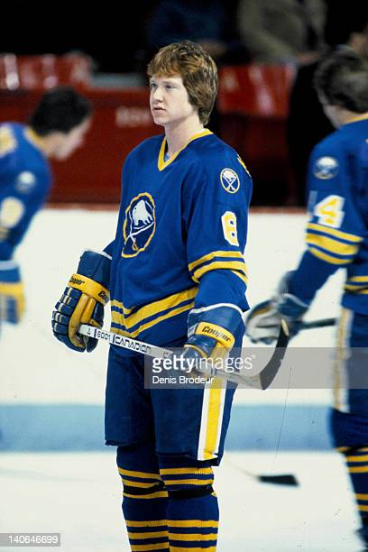 Phil Housley of the Buffalo Sabres skates during warmups of a game against the Montreal Canadiens Circa 1980 at the Montreal Forum in Montreal Quebec...