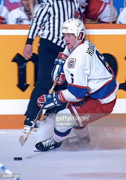 Phil Housley of the Winnipeg Jets controls the puck against the Toronto Maple Leafs during game action on February 15 1992 at Maple Leaf Gardens in...