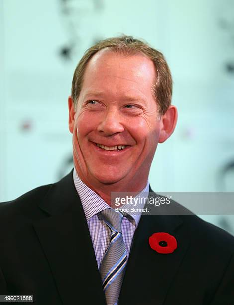 Phil Housley takes part in a press conference at Hockey Hall of Fame and Museum on November 6 2015 in Toronto Ontario Canada fedorov will be inducted...