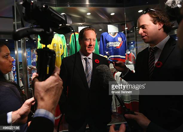 Phil Housley takes part in a press conference at Hockey Hall of Fame and Museum on November 6 2015 in Toronto Ontario Canada Housley will be inducted...