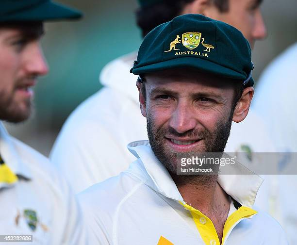 Phil Hughes of Australia 'A' looks on at the close of play during the match between Australia 'A' and South Africa 'A' at Tony Ireland Stadium on...