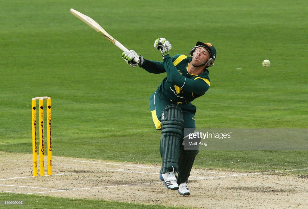 Phil Hughes of Australia is hit by a ball from Angelo Mathews of Sri Lanka during game five of the Commonwealth Bank One Day International series between Australia and Sri Lanka at Blundstone Arena on January 23, 2013 in Hobart, Australia.