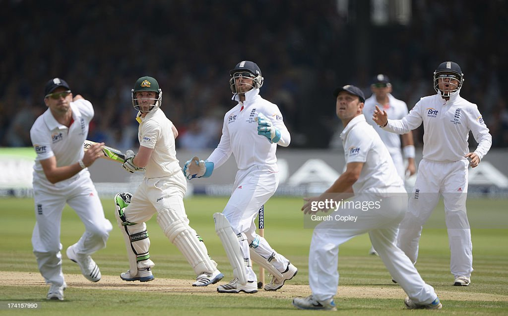 Phil Hughes of Australia looks back with England players (L-R) James Anderson, Matt Prior, Jonathan Trott and Ian Bell after a shot went over the slips during day four of the 2nd Investec Ashes Test match between England and Australia at Lord's Cricket Ground on July 21, 2013 in London, England.