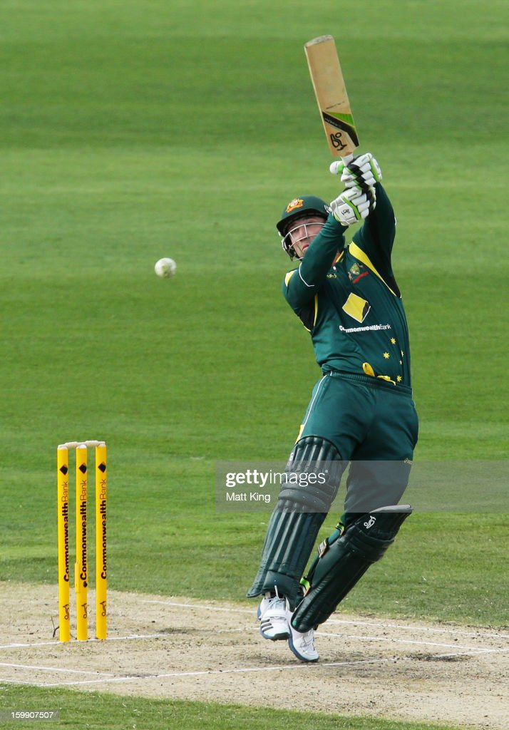 Phil Hughes of Australia plays a hook shot during game five of the Commonwealth Bank One Day International series between Australia and Sri Lanka at Blundstone Arena on January 23, 2013 in Hobart, Australia.