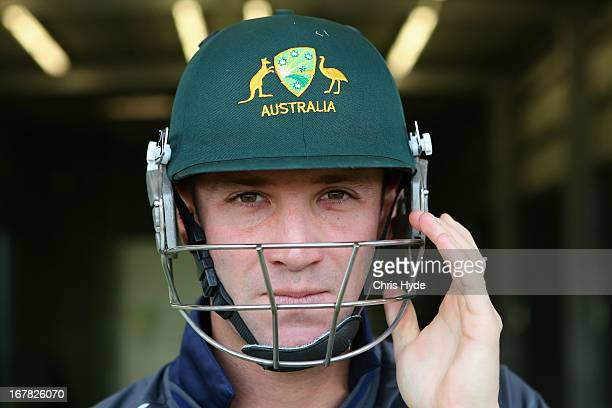 Phil Hughes of Australia prepares to bat in the Probatter during the 2013 Australian ICC Champions Trophy Squad Announcement at the Cricket Centre of...