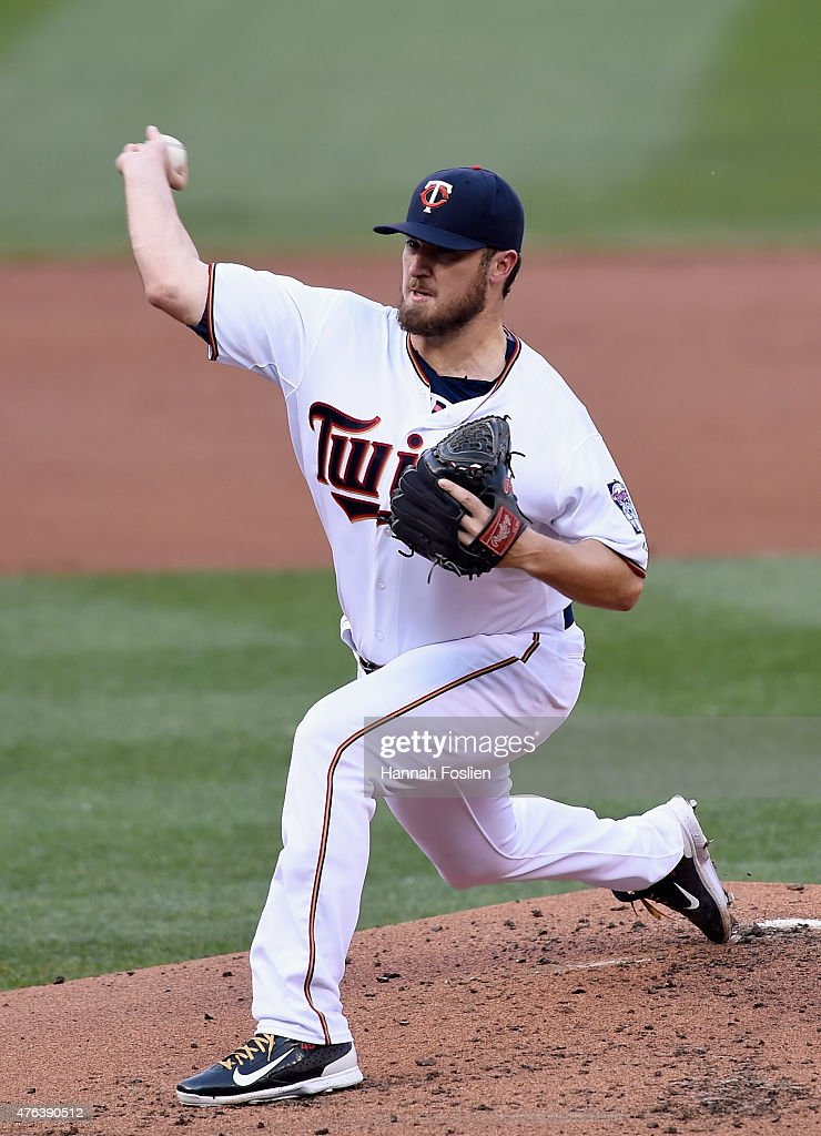 Phil Hughes of the Minnesota Twins delivers a pitch against the Kansas City Royals during the second inning of the game on June 8 2015 at Target...
