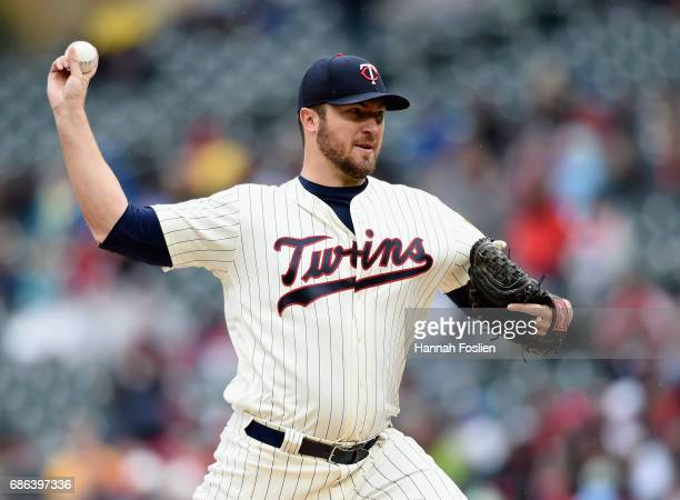 Phil Hughes of the Minnesota Twins delivers a pitch against the Kansas City Royals during the first inning of game one of a doubleheader on May 21...
