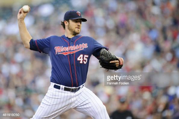 Phil Hughes of the Minnesota Twins delivers a pitch against the New York Yankees during the game on July 3 2014 at Target Field in Minneapolis...