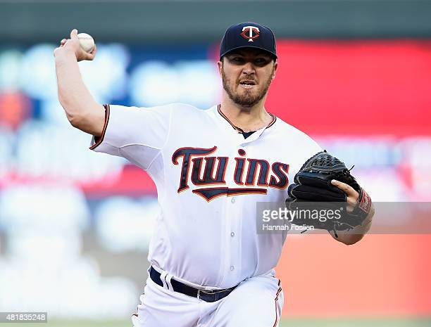 Phil Hughes of the Minnesota Twins delivers a pitch against the New York Yankees during the second inning of the game on July 24 2015 at Target Field...