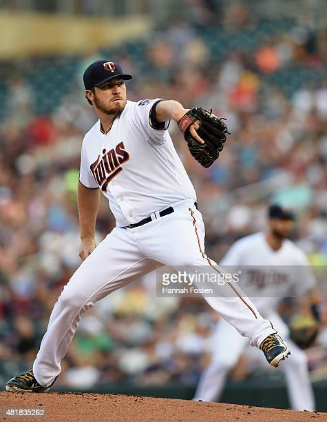 Phil Hughes of the Minnesota Twins delivers a pitch against the New York Yankees during the first inning of the game on July 24 2015 at Target Field...