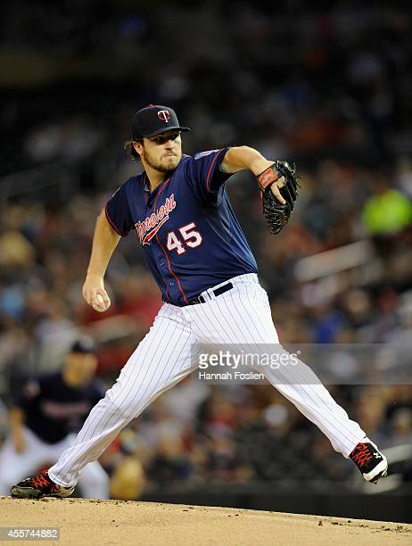 Phil Hughes of the Minnesota Twins delivers a pitch against the Cleveland Indians during the first inning of the game on September 19 2014 at Target...