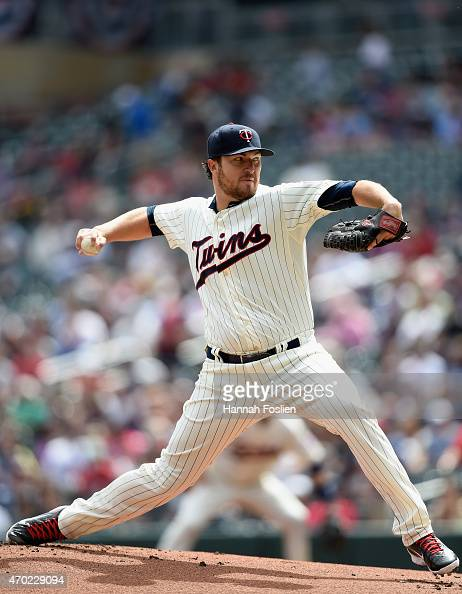Phil Hughes of the Minnesota Twins delivers a pitch against the Cleveland Indians during the first inning of the game on April 18 2015 at Target...