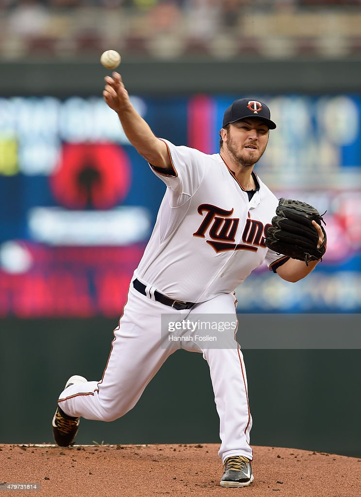 Phil Hughes of the Minnesota Twins delivers a pitch against the Baltimore Orioles during the first inning of the game on July 6 2015 at Target Field...