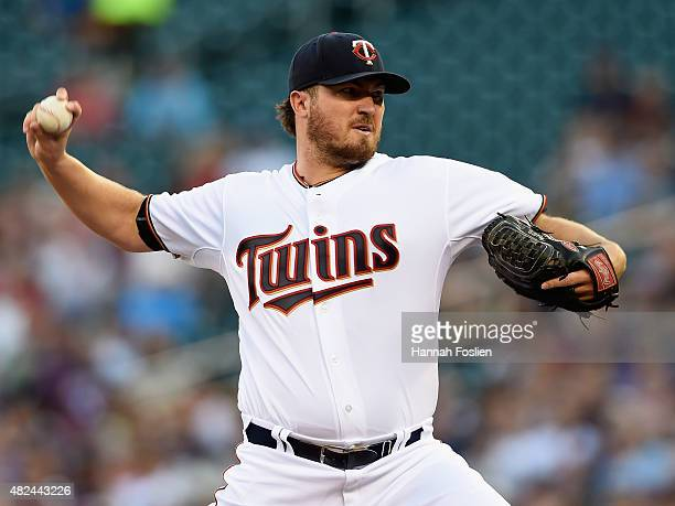 Phil Hughes of the Minnesota Twins delivers a pitch against the Seattle Mariners during the first inning of the game on July 30 2015 at Target Field...
