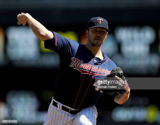 Phil Hughes of the Minnesota Twins delivers a pitch against the Baltimore Orioles during the fourth inning of the game on May 4 2014 at Target Field...