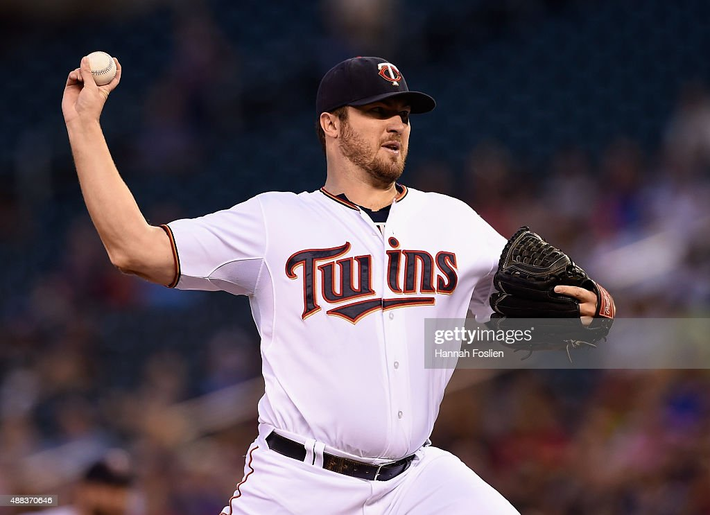 Phil Hughes of the Minnesota Twins delivers a pitch against the Detroit Tigers during the first inning of the game on September 15 2015 at Target...