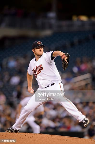 Phil Hughes of the Minnesota Twins delivers a pitch against the Detroit Tigers during the game on September 15 2015 at Target Field in Minneapolis...
