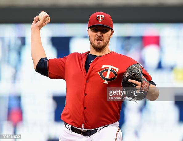 Phil Hughes of the Minnesota Twins delivers a pitch against the Detroit Tigers during the second inning of the game on April 29 2016 at Target Field...