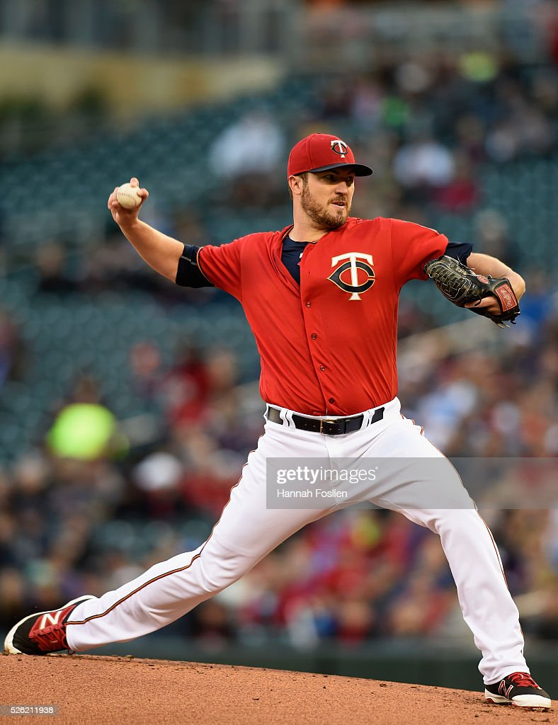 Phil Hughes of the Minnesota Twins delivers a pitch against the Detroit Tigers during the first inning of the game on April 29 2016 at Target Field...