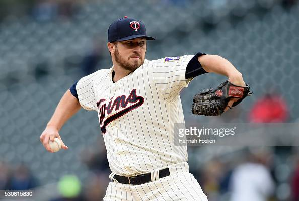 Phil Hughes of the Minnesota Twins delivers a pitch against the Baltimore Orioles during the first inning of the game on May 11 2016 at Target Field...
