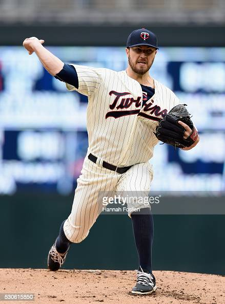 Phil Hughes of the Minnesota Twins delivers a pitch against the Baltimore Orioles during the second inning of the game on May 11 2016 at Target Field...