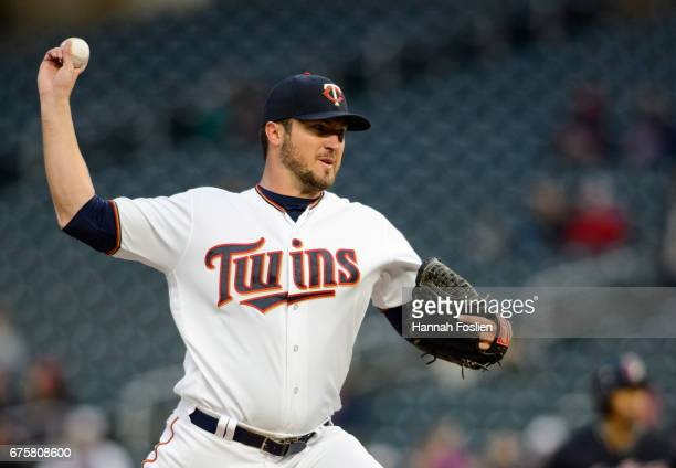 Phil Hughes of the Minnesota Twins delivers a pitch against the Cleveland Indians during the game on April 18 2017 at Target Field in Minneapolis...