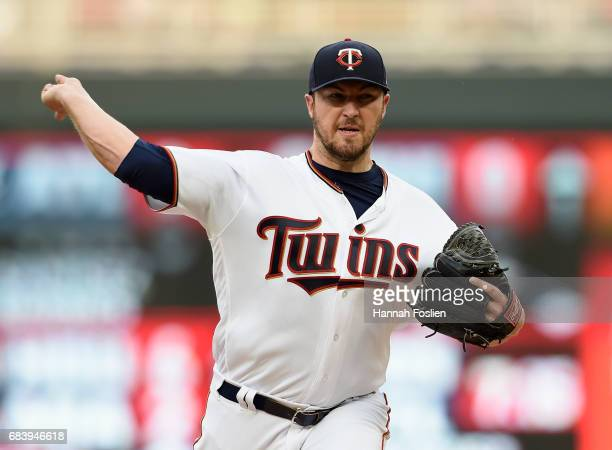 Phil Hughes of the Minnesota Twins delivers a pitch against the Colorado Rockies during the first inning of the game on May 16 2017 at Target Field...