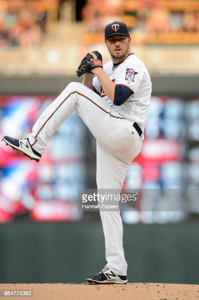 Phil Hughes of the Minnesota Twins delivers a pitch against the Colorado Rockies during the game on May 16 2017 at Target Field in Minneapolis...