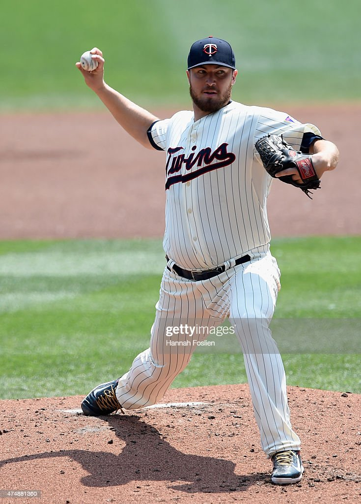 Phil Hughes of the Minnesota Twins delivers a pitch against the Boston Red Sox during the second inning of the game on May 27 2015 at Target Field in...