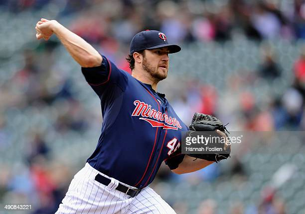 Phil Hughes of the Minnesota Twins delivers a pitch against the Boston Red Sox during the first inning of the game on May 15 2014 at Target Field in...