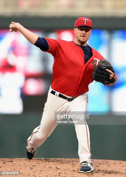 Phil Hughes of the Minnesota Twins delivers a pitch against the Boston Red Sox during the second inning of the game on May 5 2017 at Target Field in...