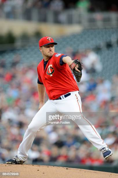 Phil Hughes of the Minnesota Twins delivers a pitch against the Boston Red Sox during the game on May 5 2017 at Target Field in Minneapolis Minnesota...