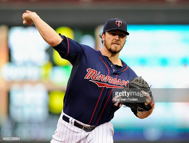 Phil Hughes of the Minnesota Twins delivers a pitch against the San Diego Padres during the second inning of the game on August 5 2014 at Target...