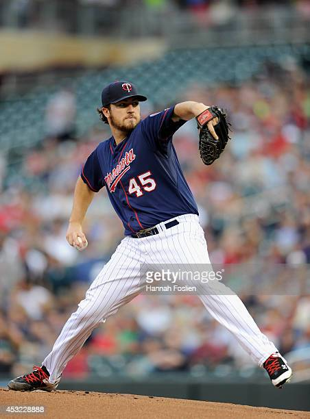 Phil Hughes of the Minnesota Twins delivers a pitch against the San Diego Padres during the first inning of the game on August 5 2014 at Target Field...