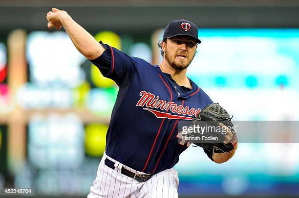 Phil Hughes of the Minnesota Twins delivers a pitch against the San Diego Padres during the game on August 5 2014 at Target Field in Minneapolis...