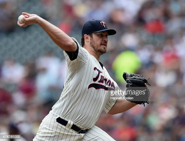 Phil Hughes of the Minnesota Twins delivers a pitch against the Chicago White Sox during the second inning of the game on June 24 2015 at Target...