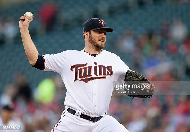Phil Hughes of the Minnesota Twins delivers a pitch against the Tampa Bay Rays during the first inning of the game on June 2 2016 at Target Field in...