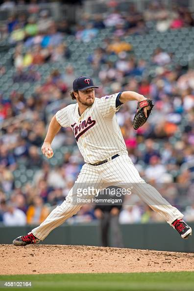 Phil Hughes of the Minnesota Twins pitches against the Arizona Diamondbacks on September 24 2014 at Target Field in Minneapolis Minnesota The Twins...