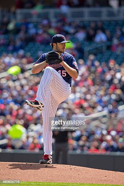 Phil Hughes of the Minnesota Twins pitches against the Baltimore Orioles on May 4 2014 at Target Field in Minneapolis Minnesota The Twins defeated...