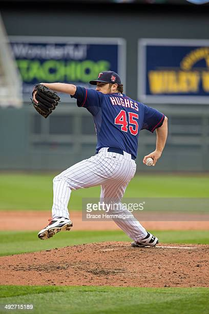 Phil Hughes of the Minnesota Twins pitches against the Boston Red Sox on May 15 2014 at Target Field in Minneapolis Minnesota The Twins defeated the...