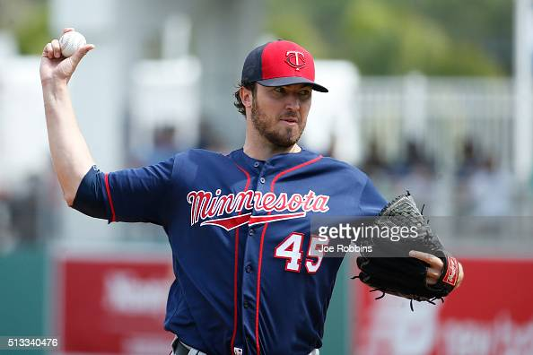 Phil Hughes of the Minnesota Twins pitches against the Boston Red Sox in the first inning of a spring training game at JetBlue Park at Fenway South...