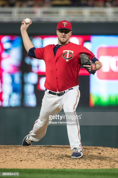 Phil Hughes of the Minnesota Twins pitches against the Boston Red Sox on May 5 2017 at Target Field in Minneapolis Minnesota The Twins defeated the...