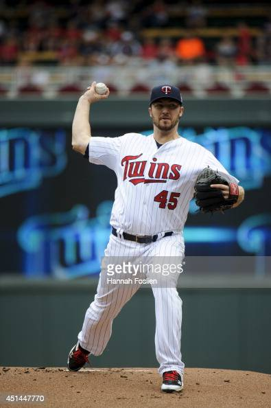 Phil Hughes of the Minnesota Twins pitches against the Chicago White Sox during the game on June 22 2014 at Target Field in Minneapolis Minnesota